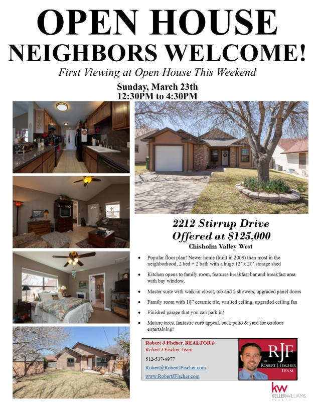 Round Rock Open House - 2212 Stirrup Drive
