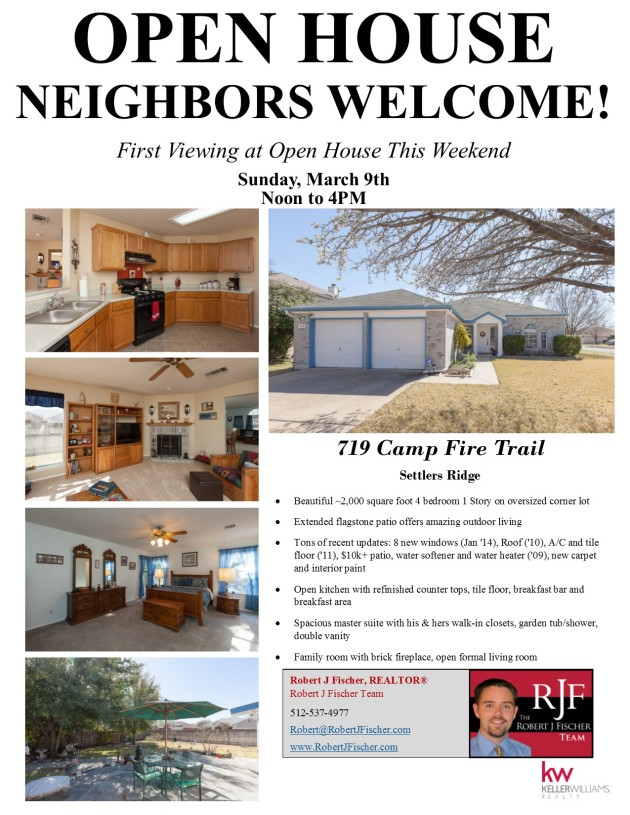 OPEN HOUSE March 9 - 719 Camp Fire Trail, Pflugerville