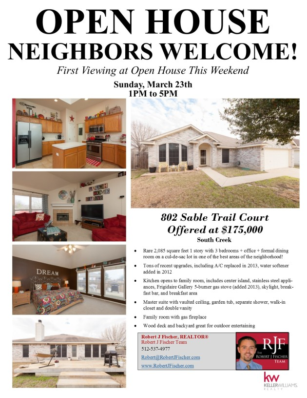 Round Rock Open House - 802 Sable Trail