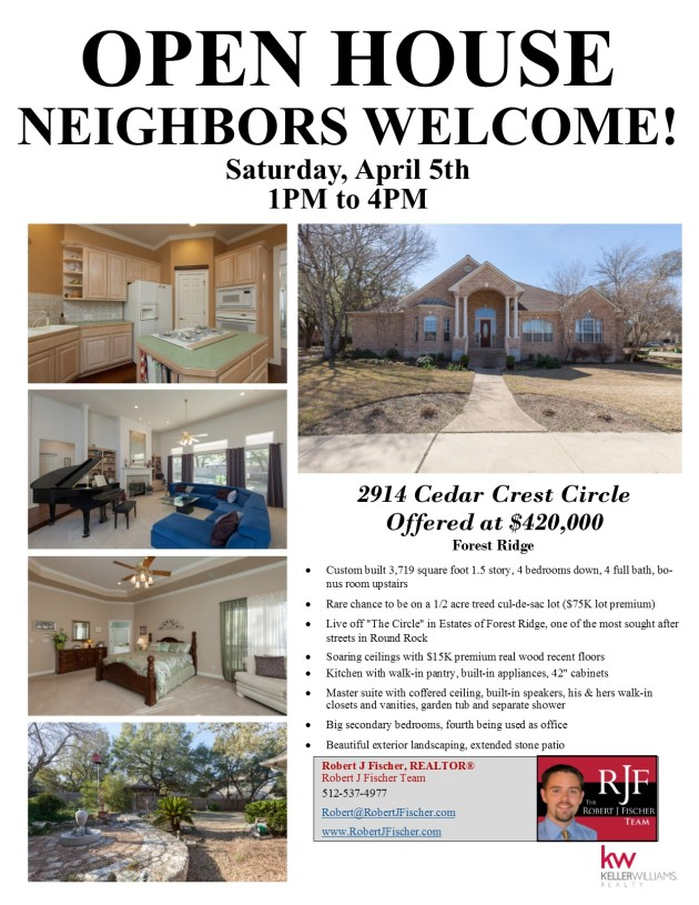 2914 Cedar Crest Circle Open House April 5